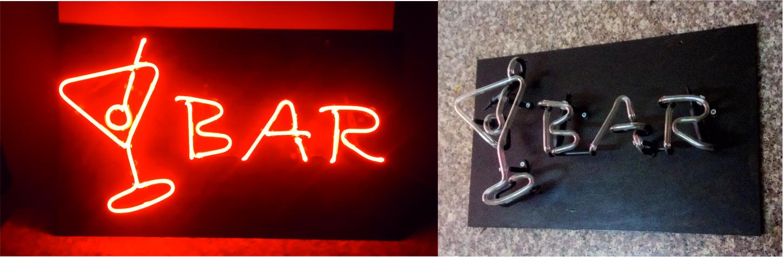 bar yazısı cam neon yazı