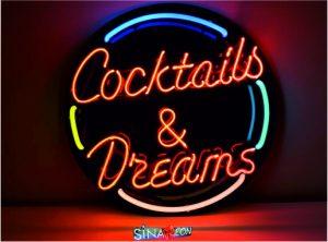 coctails & dreams neon yazı, hemen satın alın