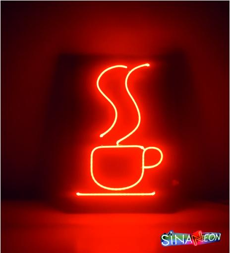 kahve fincanı neon aydınlatma