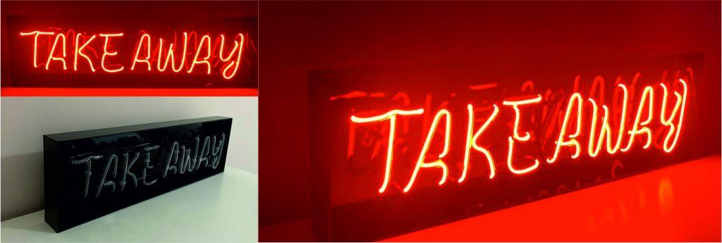 takeaway neon yazı, cafeler için n